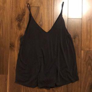 Aritzia brand v-neck dark grey tank top